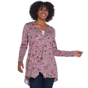 Printed Knit Button Front Cardigan